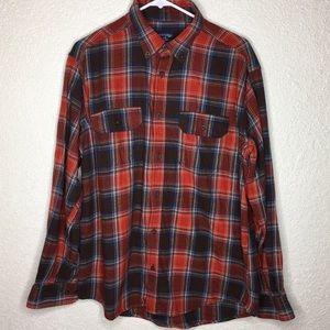 Plaid Flannel Men's Button Up Long Sleeve Size L
